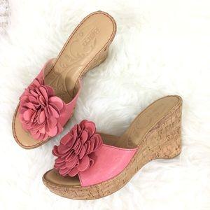 Born Safflower Leather Cork Flower Wedge Sandals
